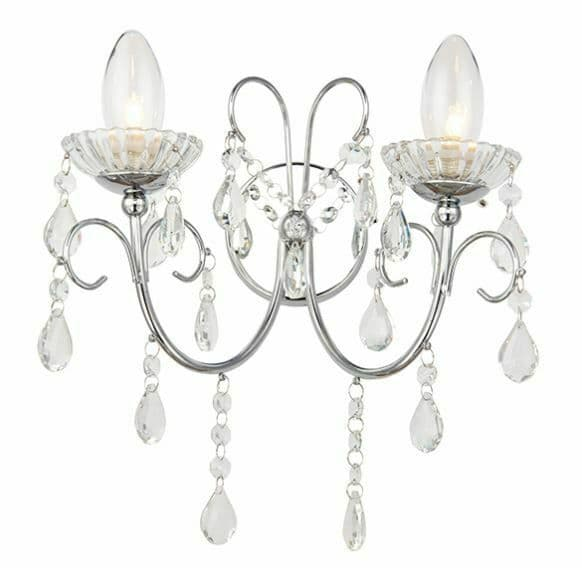 Tabitha 2 light Wall Polished chrome with and clear faceted crystal